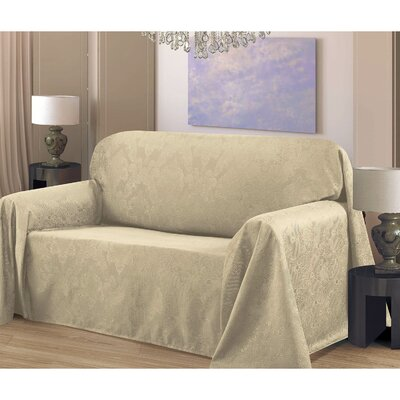 Medallion Box Cushion Sofa Slipcover Upholstery: Linen