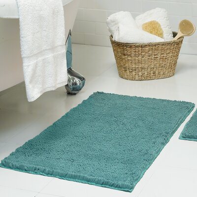 Chenille Plush Bath Mat Size: 21 x 34, Color: Marine Blue