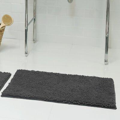 Chenille Plush 2 Piece Bath Mat Set Color: Gray