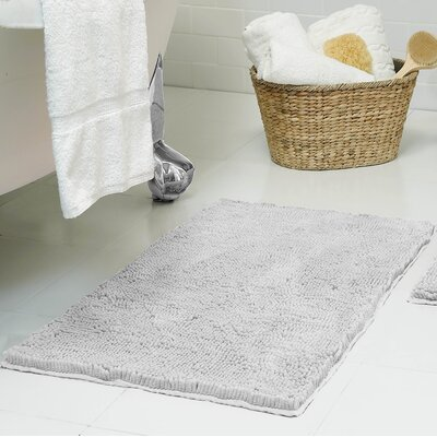 Chenille Plush Bath Mat Size: 17 x 24, Color: Light Gray