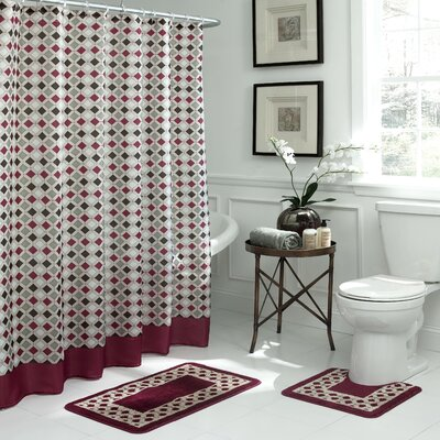 Christine Geometric 15 Piece Bath Set Color: Red/Espresso