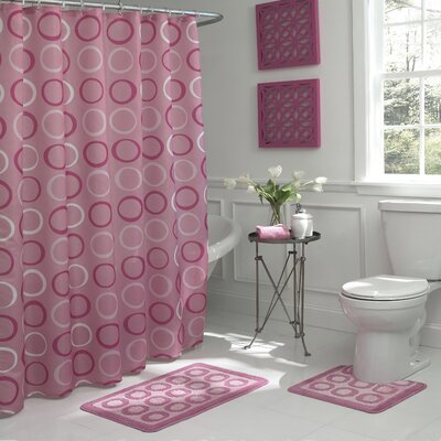 Schubert Geometric 15 Piece Bath Set Color: Dusty Rose
