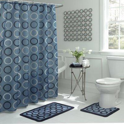 Schubert Geometric 15 Piece Bath Set Color: Light Blue/Navy