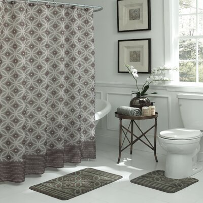 Gonsalves Geometric 15 Piece Bath Set Color: Chocolate/Sage