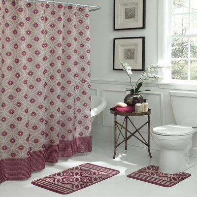 Hartford Geometric 15 Piece Bath Set Color: Red/Linen