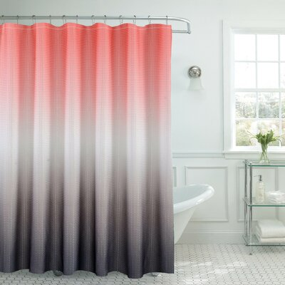 Ombre Shower Curtain Color: Coral/Gray