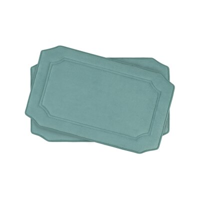 Walden Small Premium Micro Plush Memory Foam Bath Mat Set Color: Marine Blue