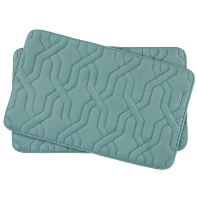 Drona Small Premium Micro Plush Memory Foam Bath Mat Set Color: Marine Blue