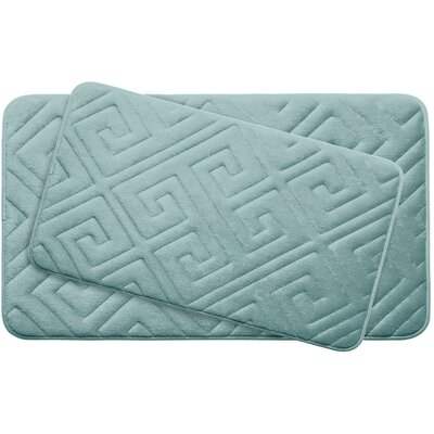 Caicos Large 2 Piece Premium Micro Plush Memory Foam Bath Mat Set Color: Aqua