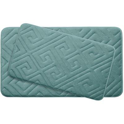 Caicos Large 2 Piece Premium Micro Plush Memory Foam Bath Mat Set Color: Marine Blue