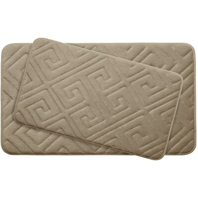 Caicos Large 2 Piece Premium Micro Plush Memory Foam Bath Mat Set Color: Linen