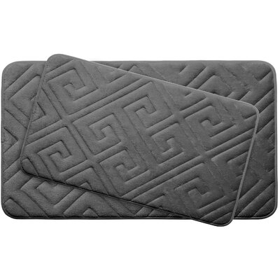 Caicos Large 2 Piece Premium Micro Plush Memory Foam Bath Mat Set Color: Dark Grey