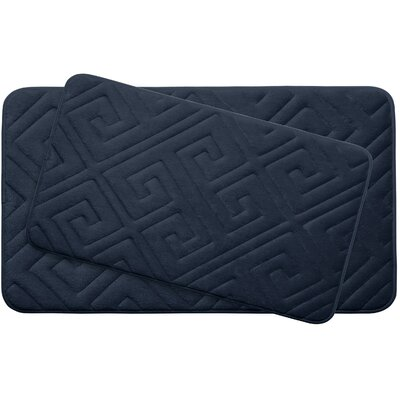 Caicos Large 2 Piece Premium Micro Plush Memory Foam Bath Mat Set Color: Indigo