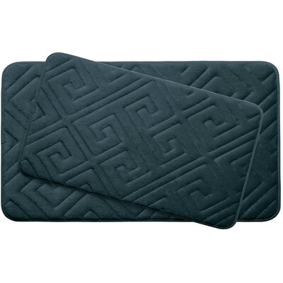 Caicos Large 2 Piece Premium Micro Plush Memory Foam Bath Mat Set Color: Slate Teal