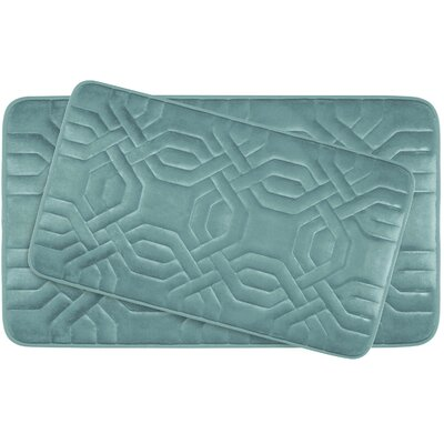 Chain Ring Large 2 Piece Premium Micro Plush Memory Foam Bath Mat Set Color: Marine Blue