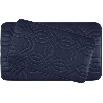 Ernie Large Premium Micro Plush Memory Foam Bath Mat Set Color: Indigo