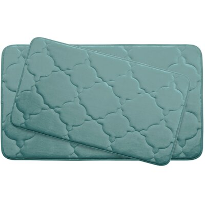 Dorothy Large Premium Micro Plush Memory Foam Bath Mat Set Color: Marine Blue