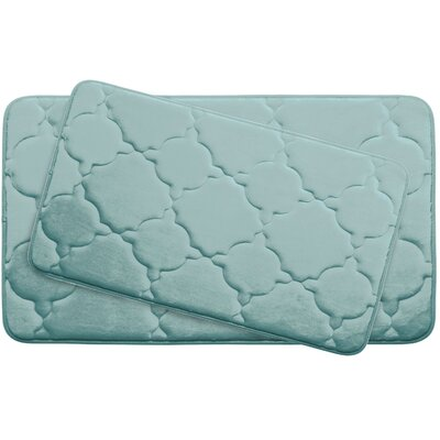 Dorothy Large 2 Piece Premium Micro Plush Memory Foam Bath Mat Set Color: Aqua