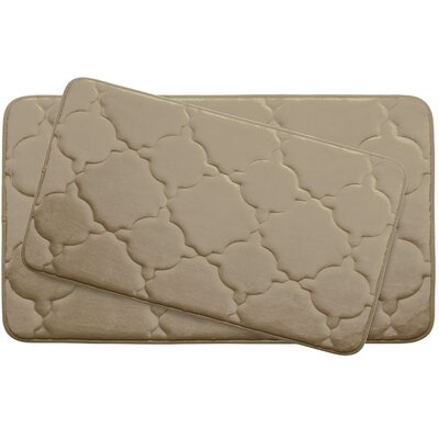 Dorothy Large 2 Piece Premium Micro Plush Memory Foam Bath Mat Set Color: Linen