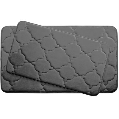 Dorothy Large 2 Piece Premium Micro Plush Memory Foam Bath Mat Set Color: Dark Grey