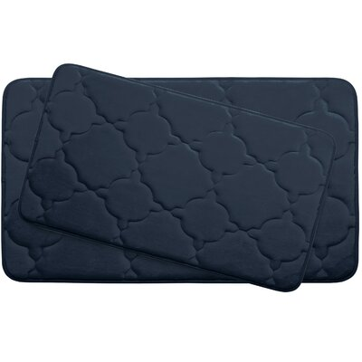 Dorothy Large 2 Piece Premium Micro Plush Memory Foam Bath Mat Set Color: Indigo