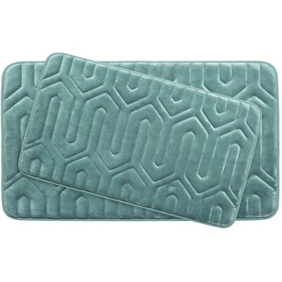 Thea Large 2 Piece Premium Micro Plush Memory Foam Bath Mat Set Color: Marine Blue