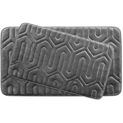 Thea Large 2 Piece Premium Micro Plush Memory Foam Bath Mat Set Color: Dark Grey