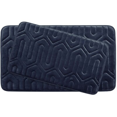Thea Large Premium Micro Plush Memory Foam Bath Mat Set Color: Indigo