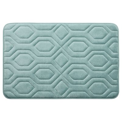 Turtle Shell Premium Micro Plush Memory Foam Bath Mat Color: Aqua, Size: 20 W x 32 L
