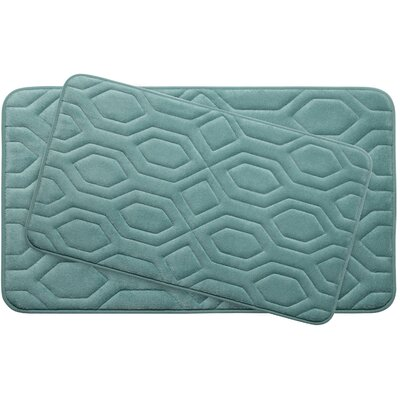 Turtle Shell Large 2 Piece Premium Micro Plush Memory Foam Bath Mat Set Color: Marine Blue