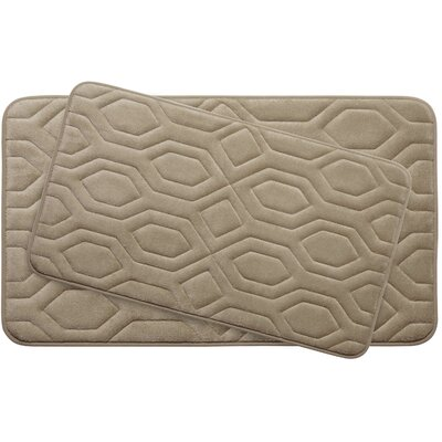 Turtle Shell Large 2 Piece Premium Micro Plush Memory Foam Bath Mat Set Color: Linen