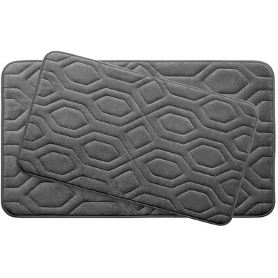 Turtle Shell Large 2 Piece Premium Micro Plush Memory Foam Bath Mat Set Color: Dark Grey