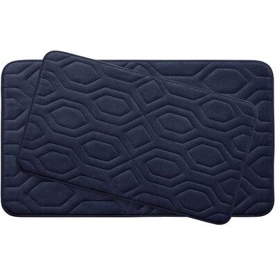 Turtle Shell Large 2 Piece Premium Micro Plush Memory Foam Bath Mat Set Color: Indigo