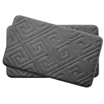 Caicos Small 2 Piece Premium Micro Plush Memory Foam Bath Mat Set Color: Dark Grey