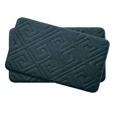 Caicos Small 2 Piece Premium Micro Plush Memory Foam Bath Mat Set Color: Slate Teal