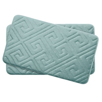 Caicos Small 2 Piece Premium Micro Plush Memory Foam Bath Mat Set Color: Aqua
