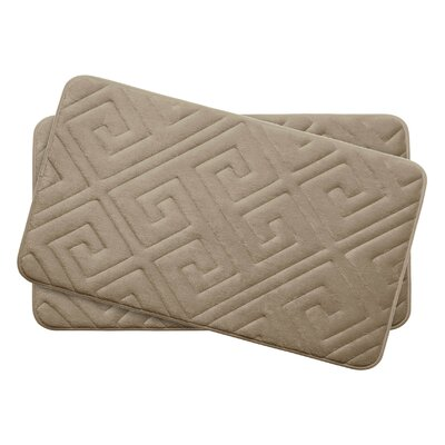 Caicos Small Premium Micro Plush Memory Foam Bath Mat Set Color: Linen