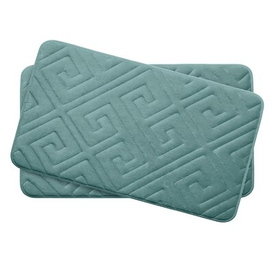 Caicos Small Premium Micro Plush Memory Foam Bath Mat Set Color: Marine Blue