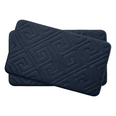 Caicos Small 2 Piece Premium Micro Plush Memory Foam Bath Mat Set Color: Indigo