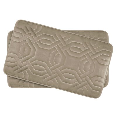 Ernie Small Premium Micro Plush Memory Foam Bath Mat Set Color: Linen