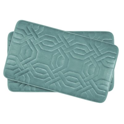 Chain Ring Small 2 Piece Premium Micro Plush Memory Foam Bath Mat Set Color: Marine Blue