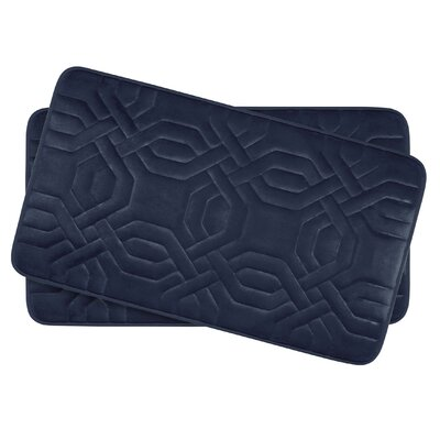 Ernie Small Premium Micro Plush Memory Foam Bath Mat Set Color: Indigo