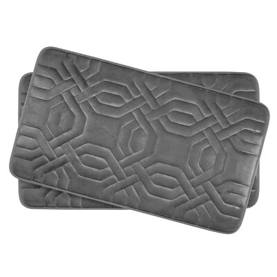 Chain Ring Small 2 Piece Premium Micro Plush Memory Foam Bath Mat Set Color: Dark Grey