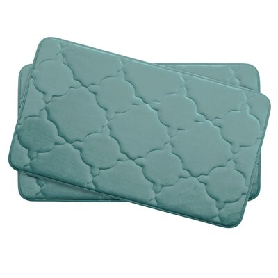 Dorothy Small 2 Piece Premium Micro Plush Memory Foam Bath Mat Set Color: Marine Blue