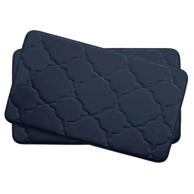 Dorothy Small Premium Micro Plush Memory Foam Bath Mat Set Color: Indigo