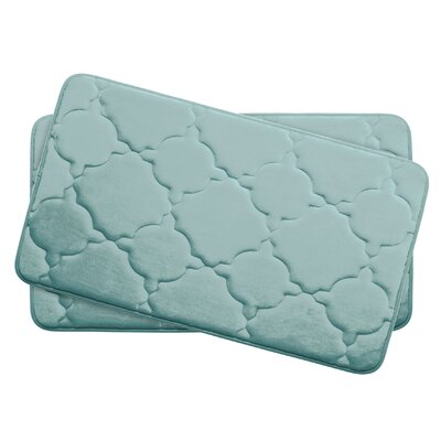 Dorothy Small 2 Piece Premium Micro Plush Memory Foam Bath Mat Set Color: Aqua