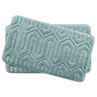 Thea Small 2 Piece Premium Micro Plush Memory Foam Bath Mat Set Color: Aqua