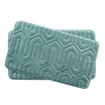 Thea Small Premium Micro Plush Memory Foam Bath Mat Set Color: Marine Blue
