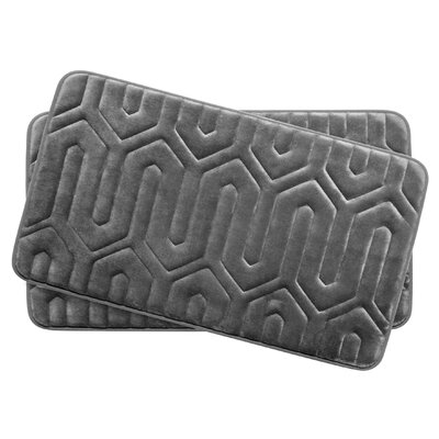 Thea Small 2 Piece Premium Micro Plush Memory Foam Bath Mat Set Color: Dark Grey