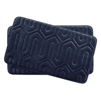 Thea Small 2 Piece Premium Micro Plush Memory Foam Bath Mat Set Color: Indigo